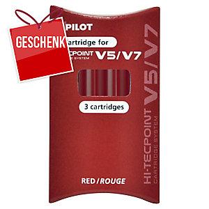 Pilot Tintenpatrone für V5/V7 Hi-Tecpoint Roller rot, 3 Stück