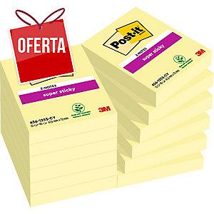 Pack 12 Blocos notas adesivas Post-it Super Sticky amarelo 47,6x47,6mm
