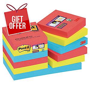 Post It Super Sticky Bora Bora Notes 48X48mm Pack of 12