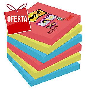 Pack 6 Blocos notas adesivas Post-it Super Sticky Bora Bora Dim: 76x76mm