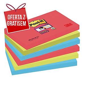 Karteczki samoprzylepne Post-it Super Sticky, Bora Bora, 76x127mm, 6x90k