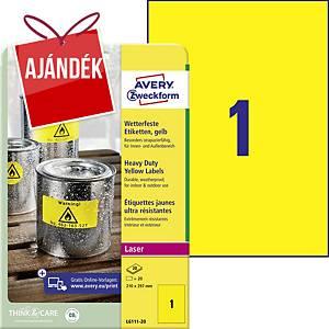 Avery nagyon ellenálló címke, 210 x 297 mm, sárga, 1 címke/ív