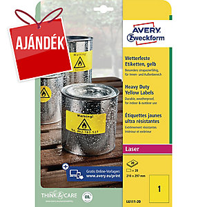 Avery L6111-20 poliészter sárga etikettek 210 x 297 mm, 1 etikett/ív, 20 ív
