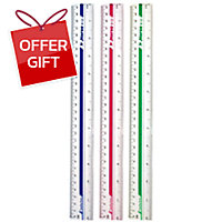 HORSE H-12 PLASTIC RULER 12   ASSORTED COLOURS