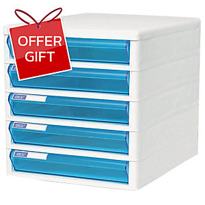 ORCA TCB-5 CABINET 5 DRAWERS WHITE/BLUE