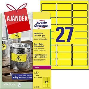 Avery ellenálló címke, L6105-20, poliészter, 63,5 x 29,6 mm, sárga