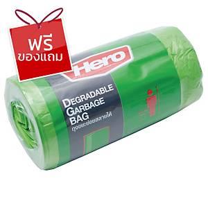 HERO ถุงขยะพลาสติกชนิดม้วน 18X20   เขียว แพ็ค 40 ใบ