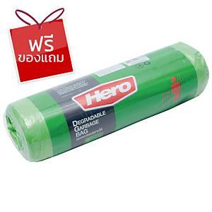 HERO ถุงขยะพลาสติกชนิดม้วน 30X40   เขียว แพ็ค 12 ใบ