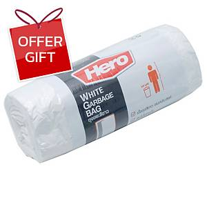 HERO ROLL WASTE BAG 24X28 INCHES WHITE PACK OF 20