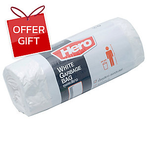 ROLL WASTE BAG 24X28 INCHES WHITE PACK OF 20