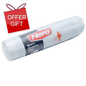HERO ROLL WASTE BAG 30X40 INCHES WHITE PACK OF 12