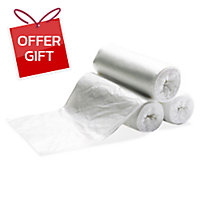 ROLL WASTE BAG 36X45 INCHES WHITE PACK OF 7