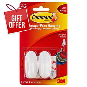 Command Oval Hook Adhesive Small - Pack 2