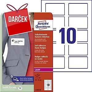 Samolepiace menovky Avery Zweckform, 80 x 50, 10 etikiet/hárok