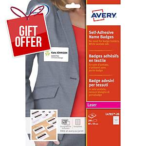 Avery L4785-20 Self Adhesive Name Badges, 80 x 50 mm, 10 Labels Per Sheet