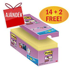 3M Post-it® 654 Super Sticky öntapadó jegyzettömb 76x76mm, sárga, 16 tömb/90 lap