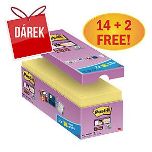3M Post-it® 654 Super Sticky bločky 76x76 mm, žluté, bal. 16 bločků/90 lístků