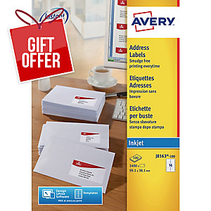 AVERY J8163-100 QUICK DRY WHITE INKJET ADDRESSING LABELS 99.1X38.1MM -BOX OF 100