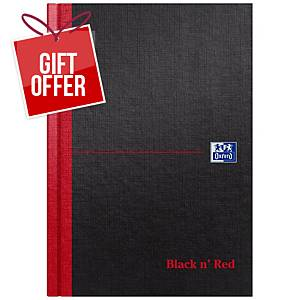 Oxford Blk n  Red A5 Hardback Casebound Notebook Ruled 192 Pages