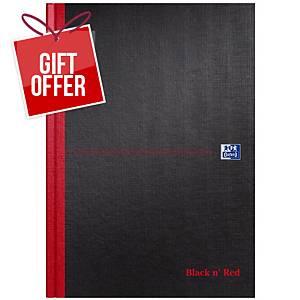 Oxford Blk n  Red A4 Hardback Casebound Notebook Ruled 192 Pages Black