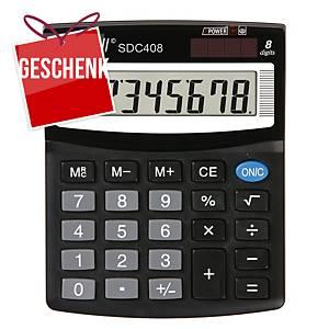 Rebell SDC408 Tischrechner, 8-stelliges Display, schwarz