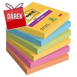 Super Sticky bločky 3M Post-it® 654, 76x76 mm, barevné, bal. 6 bločk/90 lístků