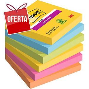 Pack 6 blocos 90 notas adesivas Post-it Super Sticky - cores Rio