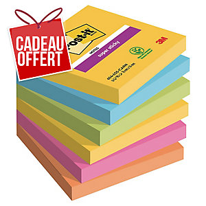 Lot de 6 blocs de notes super sticky Post-it 76x76 90 feuilles rio