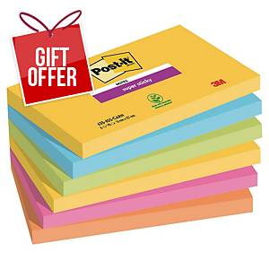 Post-It Rio Colour Super Sticky Notes 76X127mm - Pack of 6
