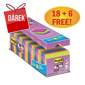 3M Post-it® 654 Super Sticky bločky, 76x76 mm, barevné, 18+6 bločků/90 listů