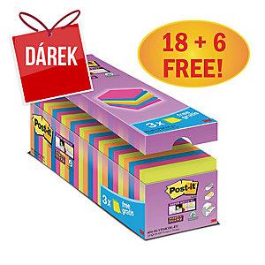 3M Post-it® 654 Super Sticky bločky 76x76 mm, barevné, bal. 18+6 bločků/90 listů