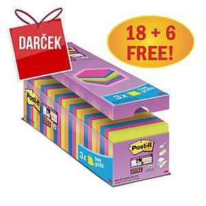 3M Post-it® 654 Super Sticky bločky 76x76mm, farebné, bal. 18+6 bločkov/90 líst