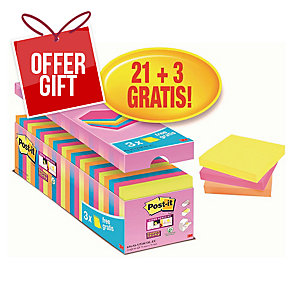 Post-It Super Sticky Notes 76x76mm Asst - Pack Of 24