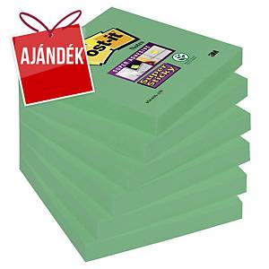 3M Post-it® 654 Super Sticky öntapadó jegyzettömb 76x76mm, zöld, 6 tömb/90 lap