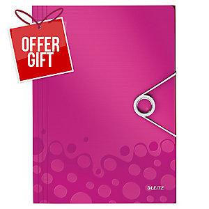 Leitz Wow 3 Flap Folder Pink
