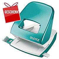 Locher Leitz WOW 5008, Bürolocher, 30 Blatt, eisblau Metallic