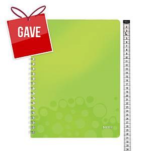 Notesbog Leitz WOW, A4, linjeret, grøn