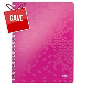 Notesbog Leitz WOW, A4, linjeret, pink