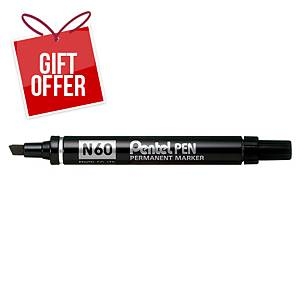 Pentel N60 Chisel Tip Black Permanent Markers - Box of 12