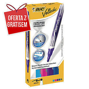 Marker suchościeralny BIC Velleda Pocket Fashion, zestaw 4 kolorów