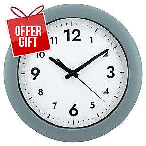 Alba Hornew M Easy Time Round Wall Clock Grey