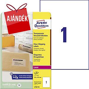 Avery Zweckform áttetsző levélcímkék 210 x 297 mm, 1 etikett/ív, 25 ív/csomag