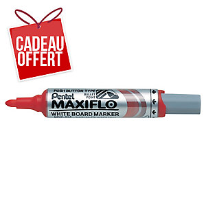 Marqueur Pentel Maxiflo - effaçable à sec - pointe ogive large - rouge