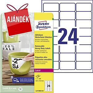 Avery Zweckform eltávolítható ellenálló címke, poliészter, 24 darab/ív