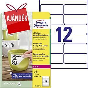 Avery eltávolítható ellenálló címke, poliészter, fehér, 12 darab/ív