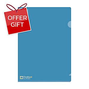 ELEPHANT 410 PLASTIC FOLDER A4 180MU BLUE - PACK OF 12