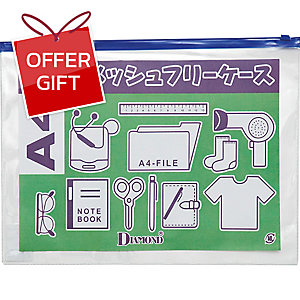 DIAMOND DOCUMENT ZIPPER BAG A4 CLEAR