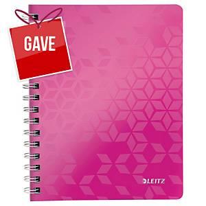 Notesbog Leitz WOW, A5, linjeret, pink