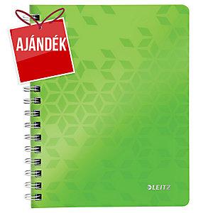 Leitz 4639 WOW spirálozott vonalas jegyzetfüzet, A5, zöld