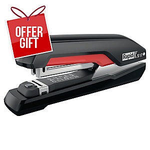 Rapid Supreme Superflatclinch Stapler S17 - Red/Black